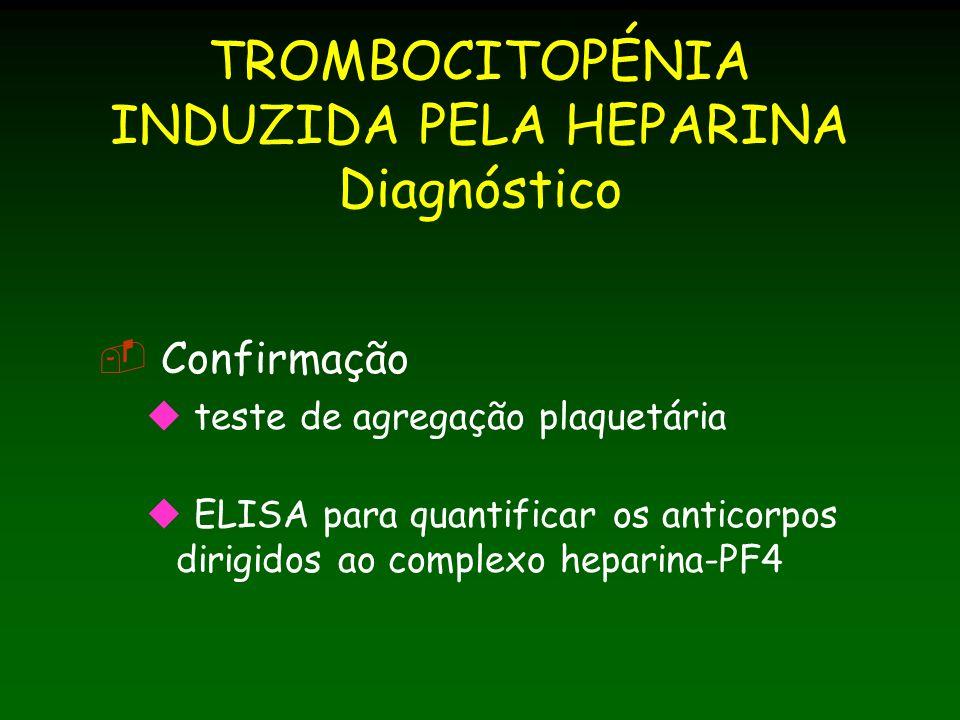 TROMBOCITOPÉNIA INDUZIDA PELA HEPARINA Diagnóstico
