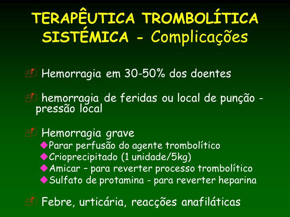 TERAPÊUTICA TROMBOLÍTICA SISTÉMICA - Complicações