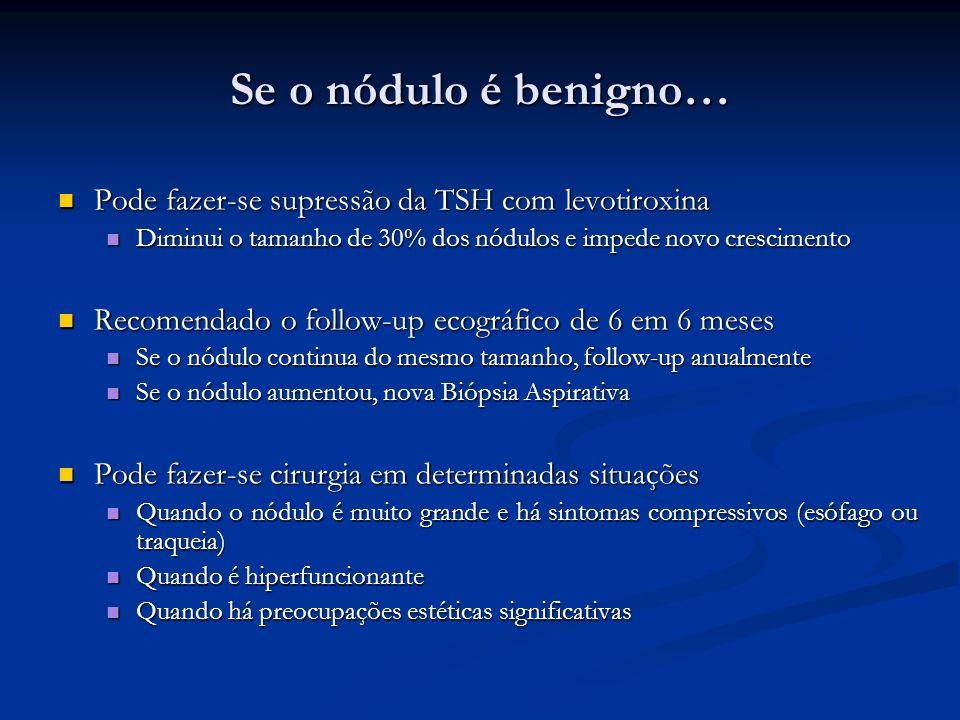 Se o nódulo é benigno… Pode fazer-se supressão da TSH com levotiroxina
