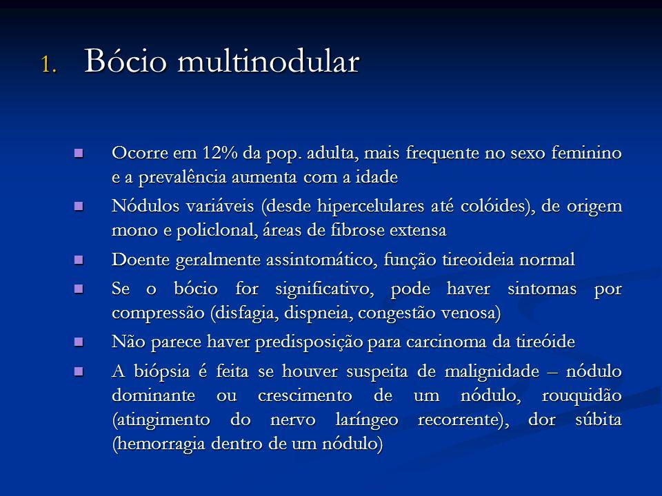 Bócio multinodular Ocorre em 12% da pop. adulta, mais frequente no sexo feminino e a prevalência aumenta com a idade.