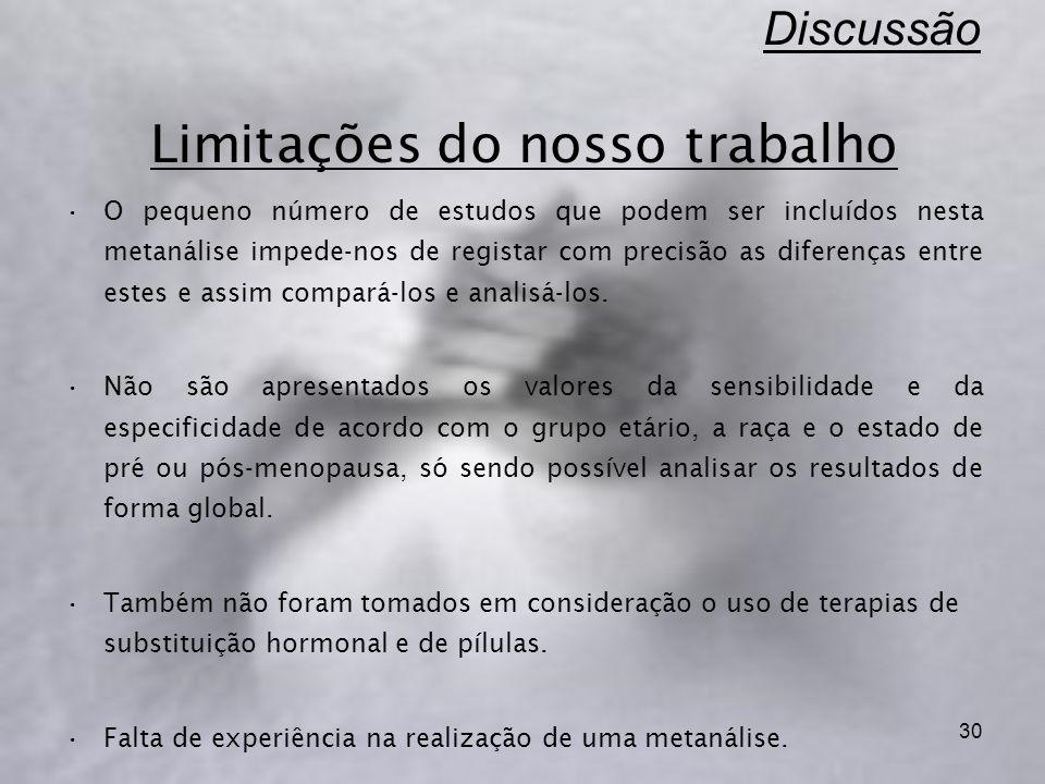 Discussão Limitações do nosso trabalho