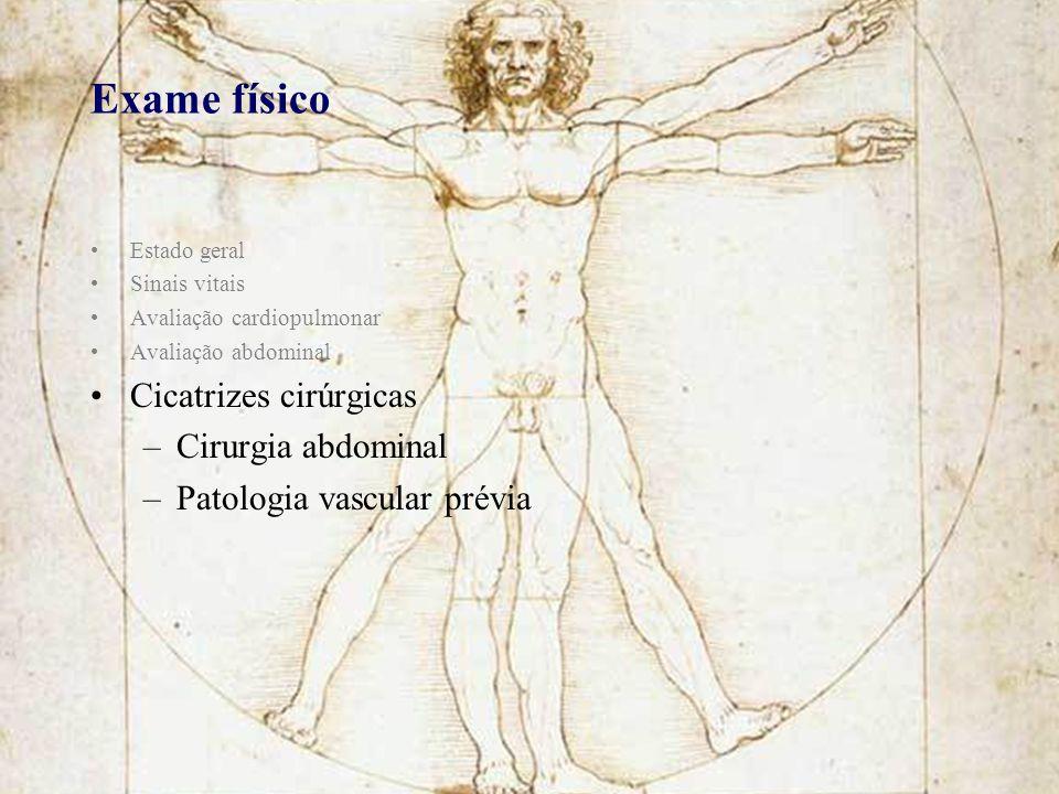 Exame físico Cicatrizes cirúrgicas Cirurgia abdominal