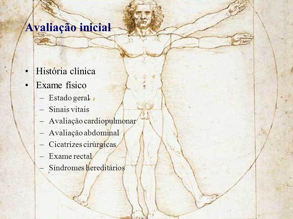 Avaliação inicial História clínica Exame físico Estado geral