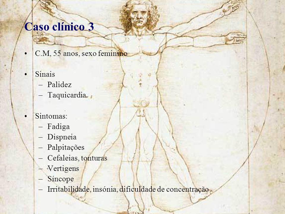 Caso clínico 3 C.M, 55 anos, sexo feminino Sinais Palidez Taquicardia
