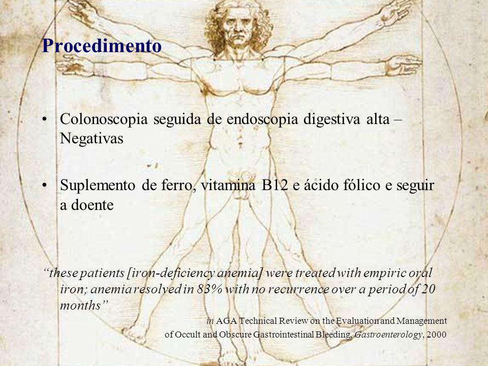 Procedimento Colonoscopia seguida de endoscopia digestiva alta – Negativas. Suplemento de ferro, vitamina B12 e ácido fólico e seguir a doente.