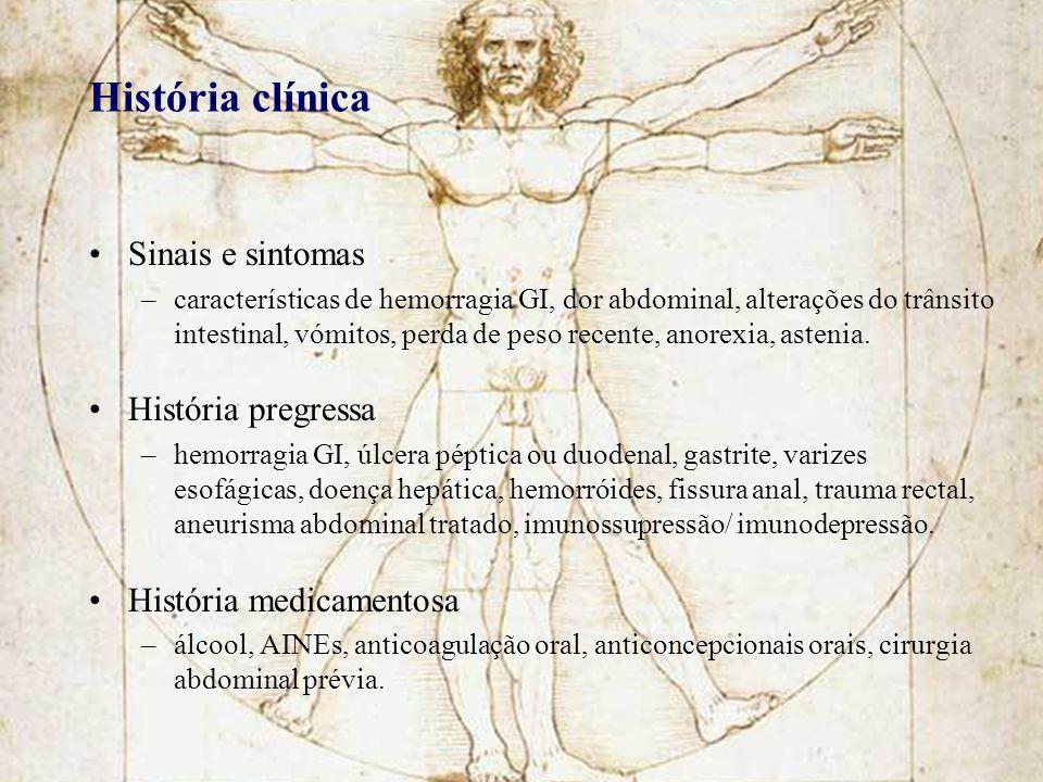 História clínica Sinais e sintomas História pregressa