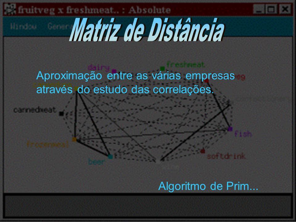 A Matriz de Distância. Aproximação entre as várias empresas através do estudo das correlações.