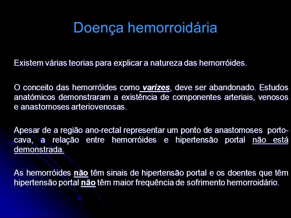 Doença hemorroidária Existem várias teorias para explicar a natureza das hemorróides.