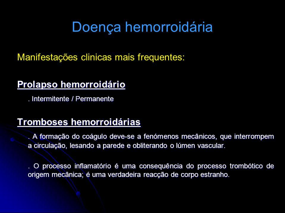 Doença hemorroidária Manifestações clinicas mais frequentes: