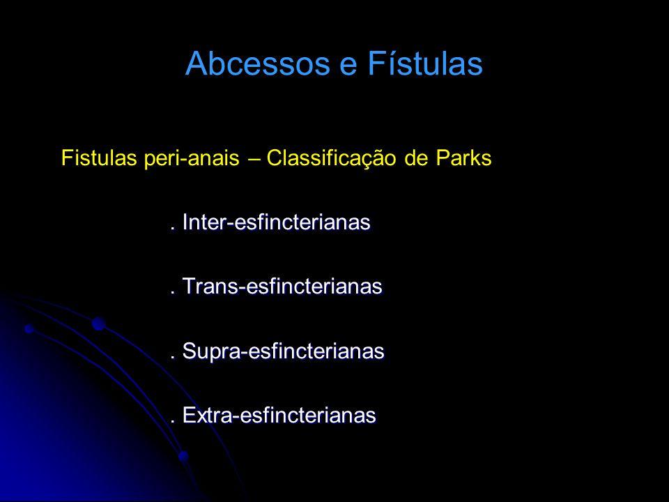 Abcessos e Fístulas Fistulas peri-anais – Classificação de Parks
