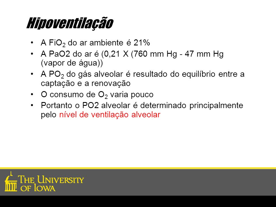 Hipoventilação A FiO2 do ar ambiente é 21%