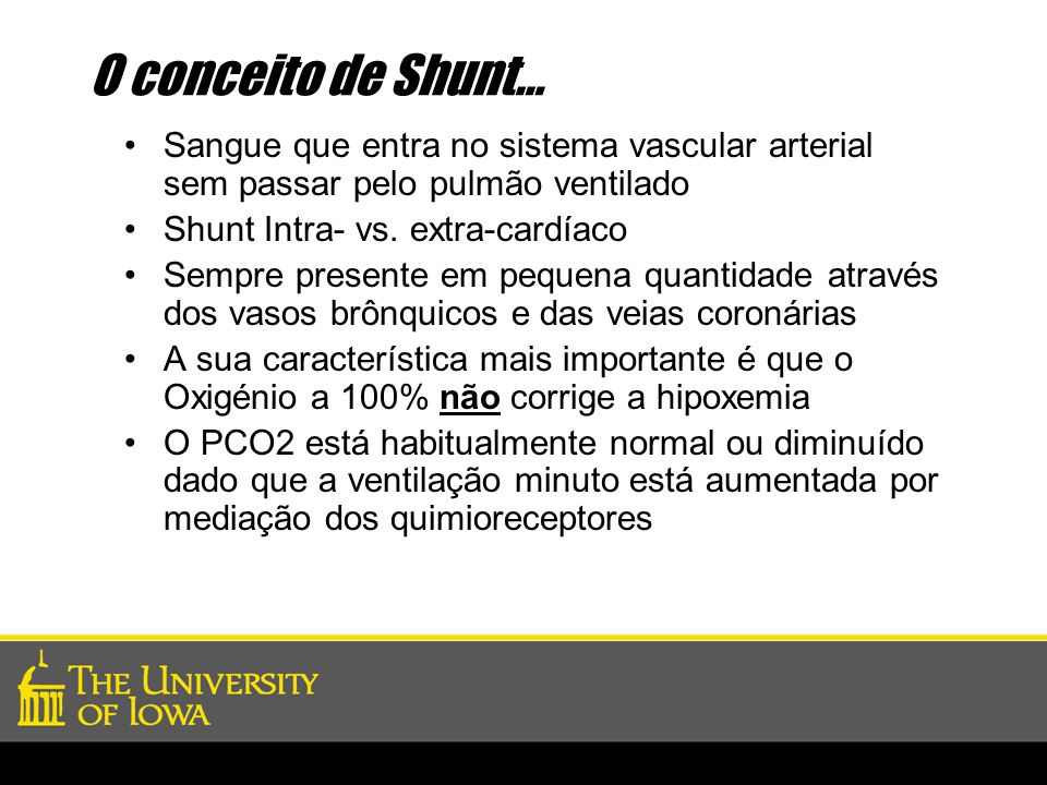 O conceito de Shunt… Sangue que entra no sistema vascular arterial sem passar pelo pulmão ventilado.