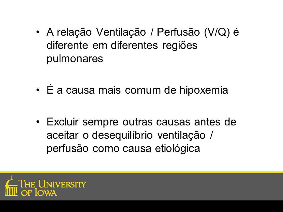 A relação Ventilação / Perfusão (V/Q) é diferente em diferentes regiões pulmonares
