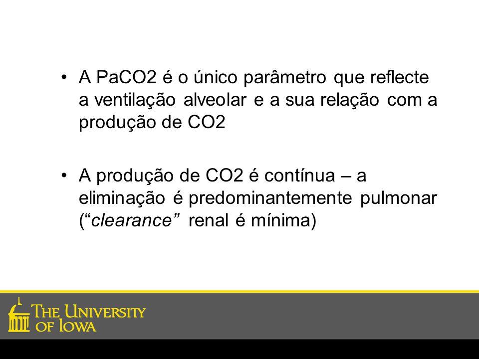 A PaCO2 é o único parâmetro que reflecte a ventilação alveolar e a sua relação com a produção de CO2
