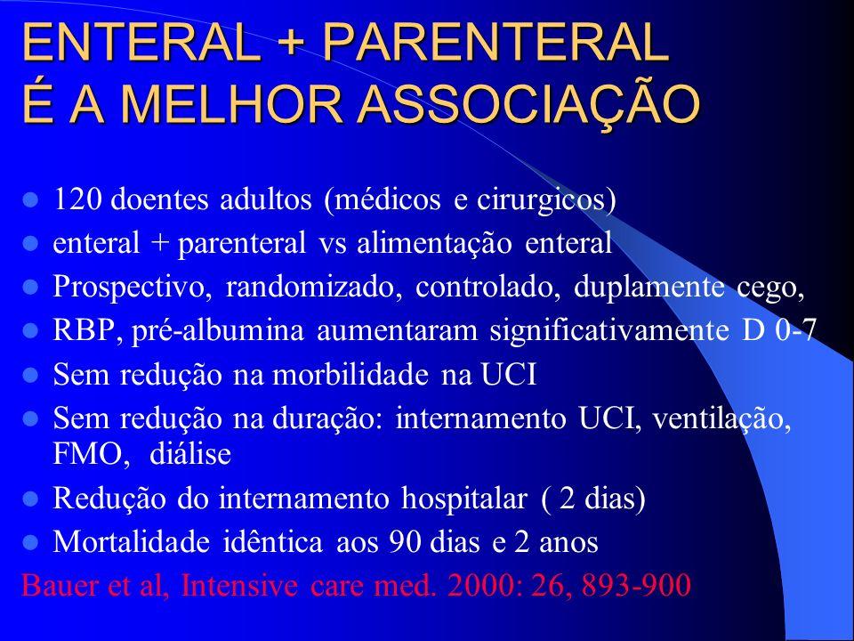ENTERAL + PARENTERAL É A MELHOR ASSOCIAÇÃO