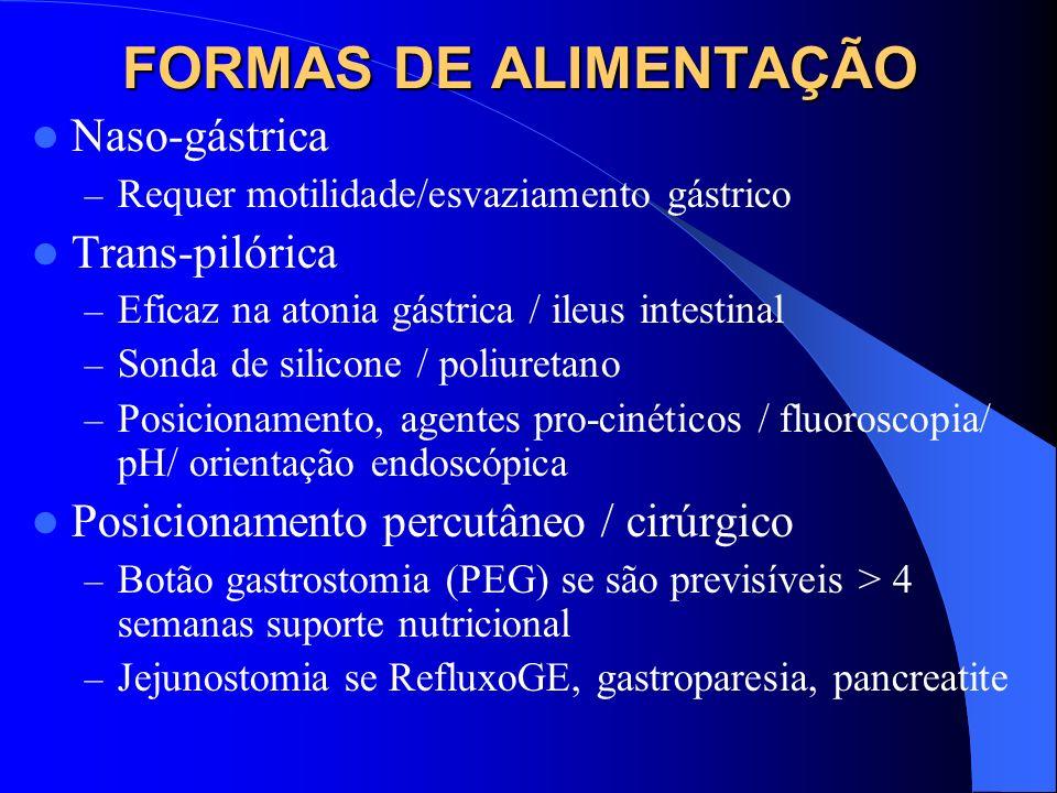 FORMAS DE ALIMENTAÇÃO Naso-gástrica Trans-pilórica