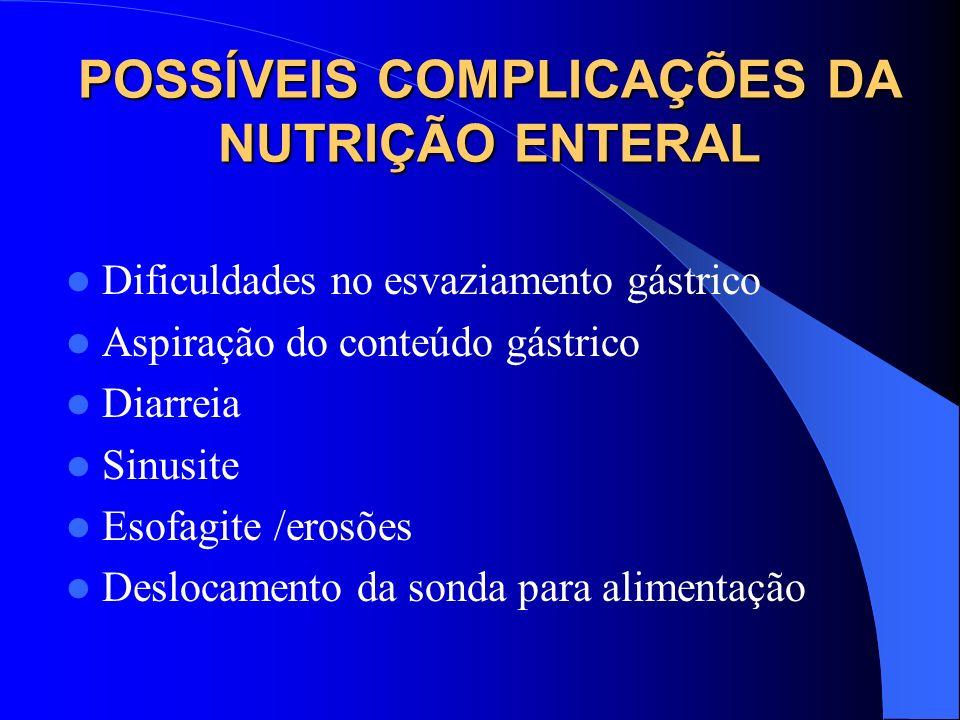 POSSÍVEIS COMPLICAÇÕES DA NUTRIÇÃO ENTERAL