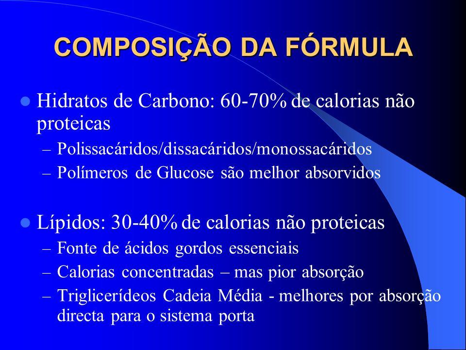 COMPOSIÇÃO DA FÓRMULA Hidratos de Carbono: 60-70% de calorias não proteicas. Polissacáridos/dissacáridos/monossacáridos.