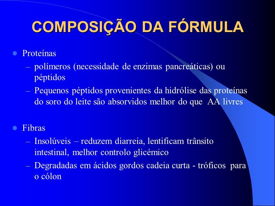 COMPOSIÇÃO DA FÓRMULA Proteínas