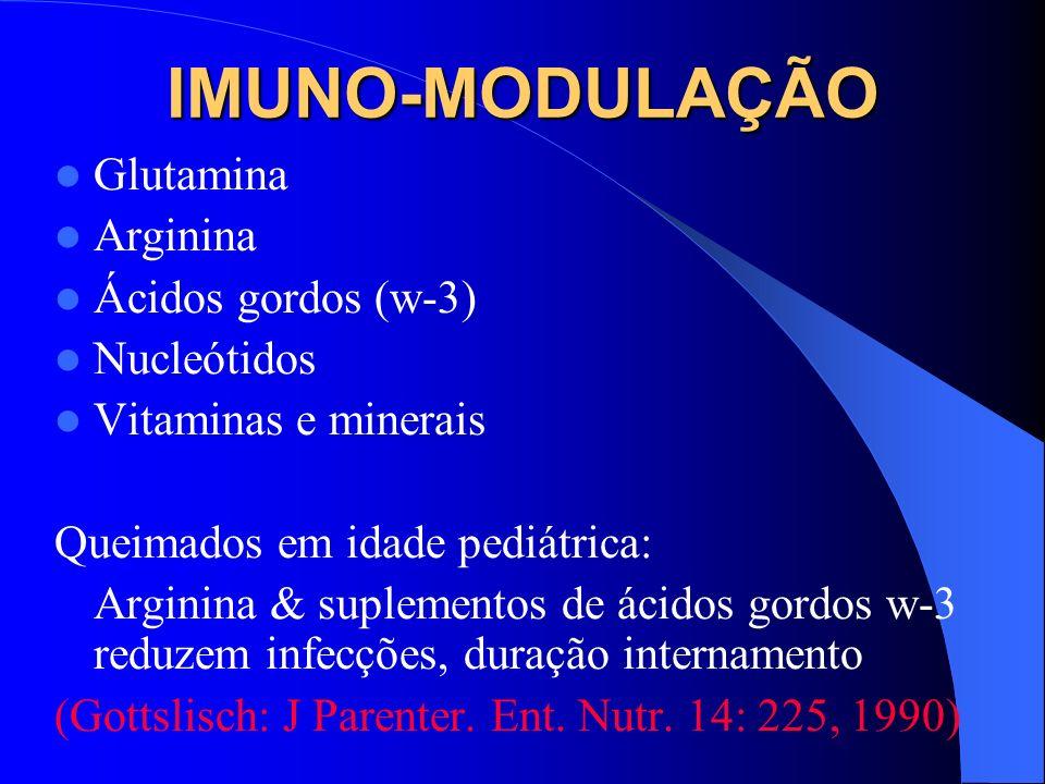 IMUNO-MODULAÇÃO Glutamina Arginina Ácidos gordos (w-3) Nucleótidos