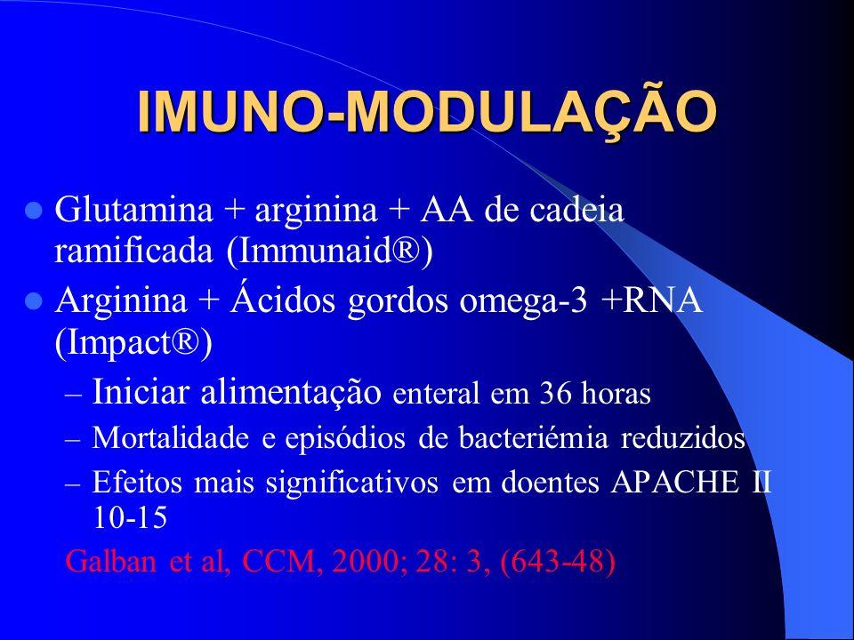 IMUNO-MODULAÇÃO Glutamina + arginina + AA de cadeia ramificada (Immunaid®) Arginina + Ácidos gordos omega-3 +RNA (Impact®)