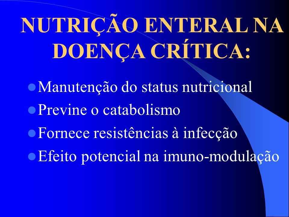 NUTRIÇÃO ENTERAL NA DOENÇA CRÍTICA: