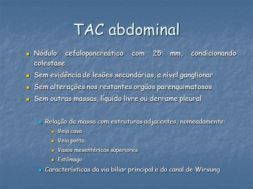 TAC abdominal Nódulo cefalopancreático com 25 mm, condicionando colestase. Sem evidência de lesões secundárias, a nível ganglionar.