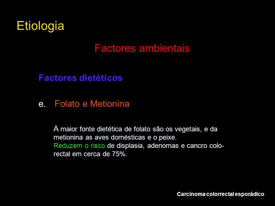 Etiologia Factores ambientais Factores dietéticos