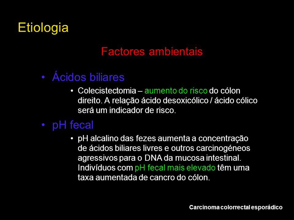 Etiologia Factores ambientais Ácidos biliares pH fecal