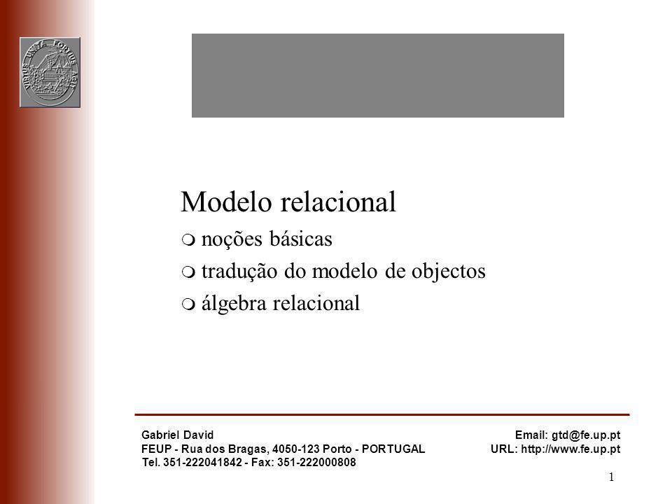 Modelo relacional noções básicas tradução do modelo de objectos