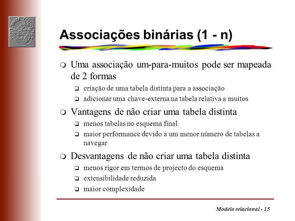 Associações binárias (1 - n)