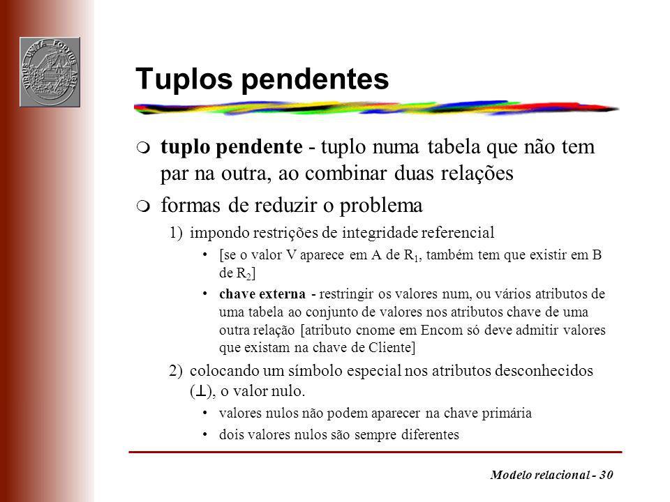 Tuplos pendentes tuplo pendente - tuplo numa tabela que não tem par na outra, ao combinar duas relações.