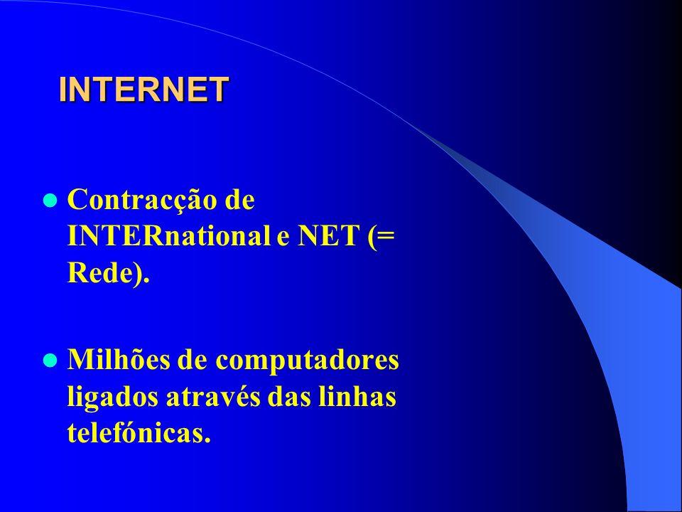 INTERNET Contracção de INTERnational e NET (= Rede).