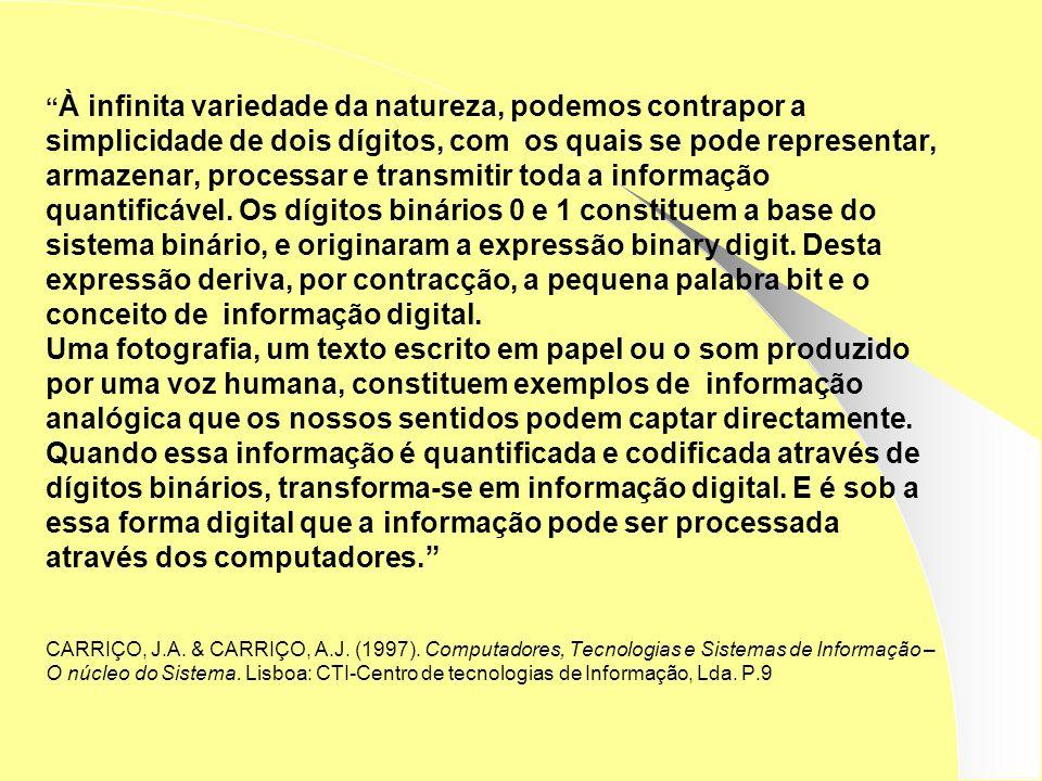 À infinita variedade da natureza, podemos contrapor a simplicidade de dois dígitos, com os quais se pode representar, armazenar, processar e transmitir toda a informação quantificável.