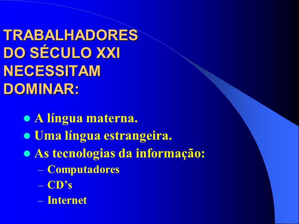 TRABALHADORES DO SÉCULO XXI NECESSITAM DOMINAR: