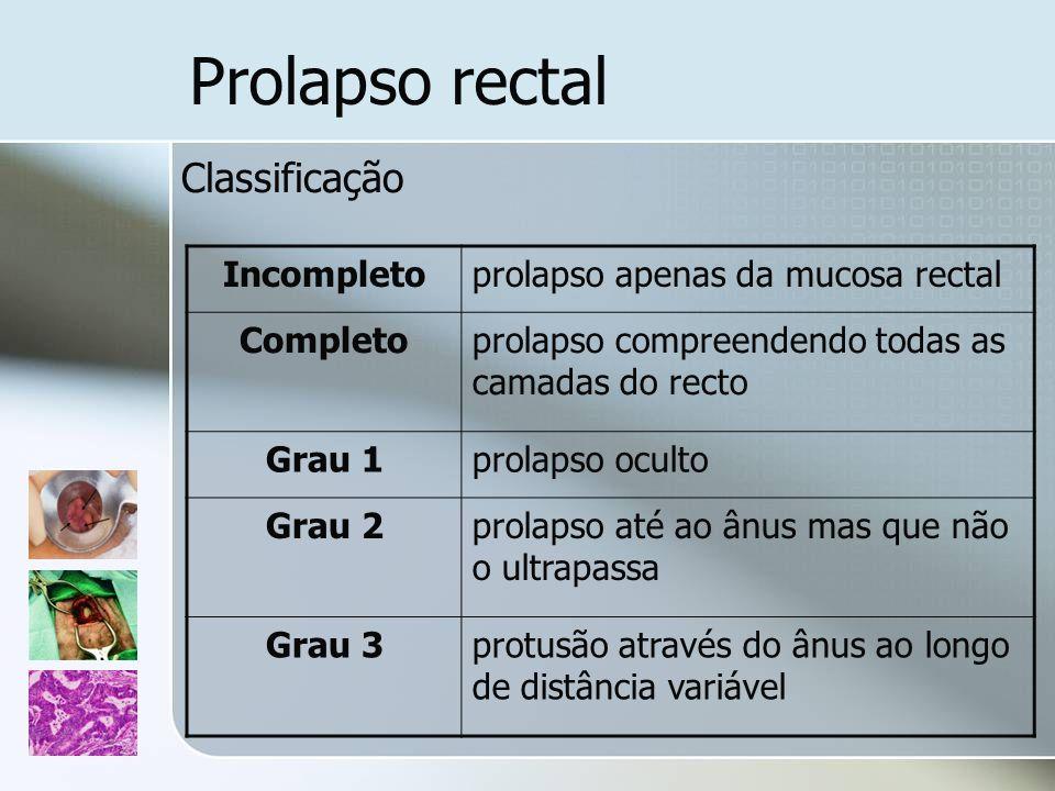 Prolapso rectal Classificação Incompleto