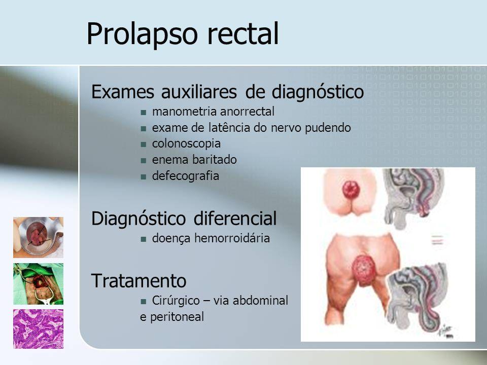 Prolapso rectal Exames auxiliares de diagnóstico