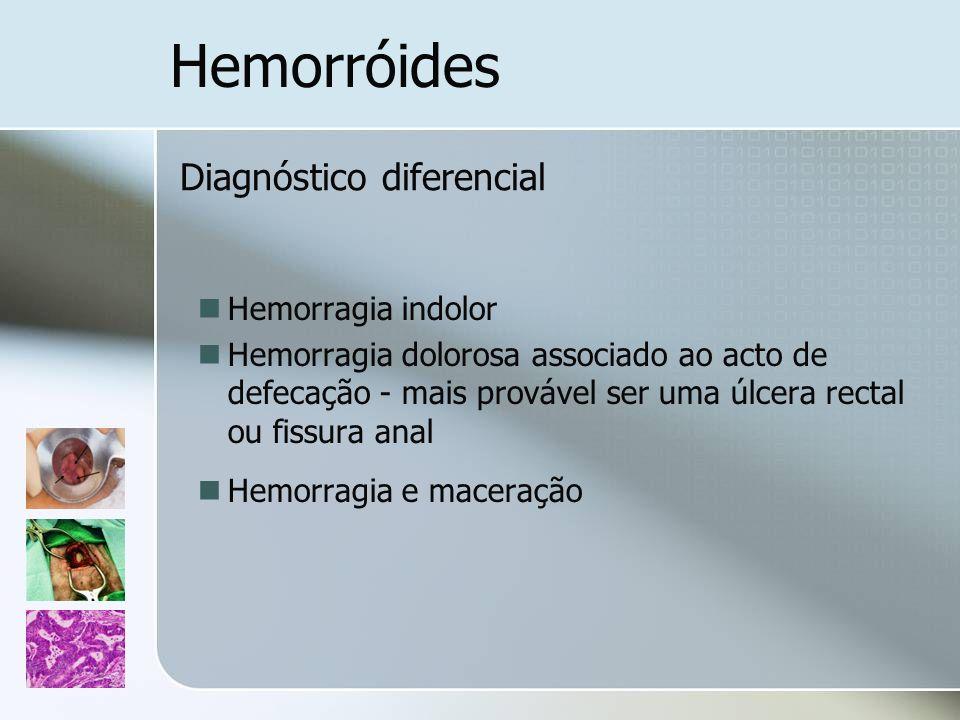 Hemorróides Diagnóstico diferencial Hemorragia indolor