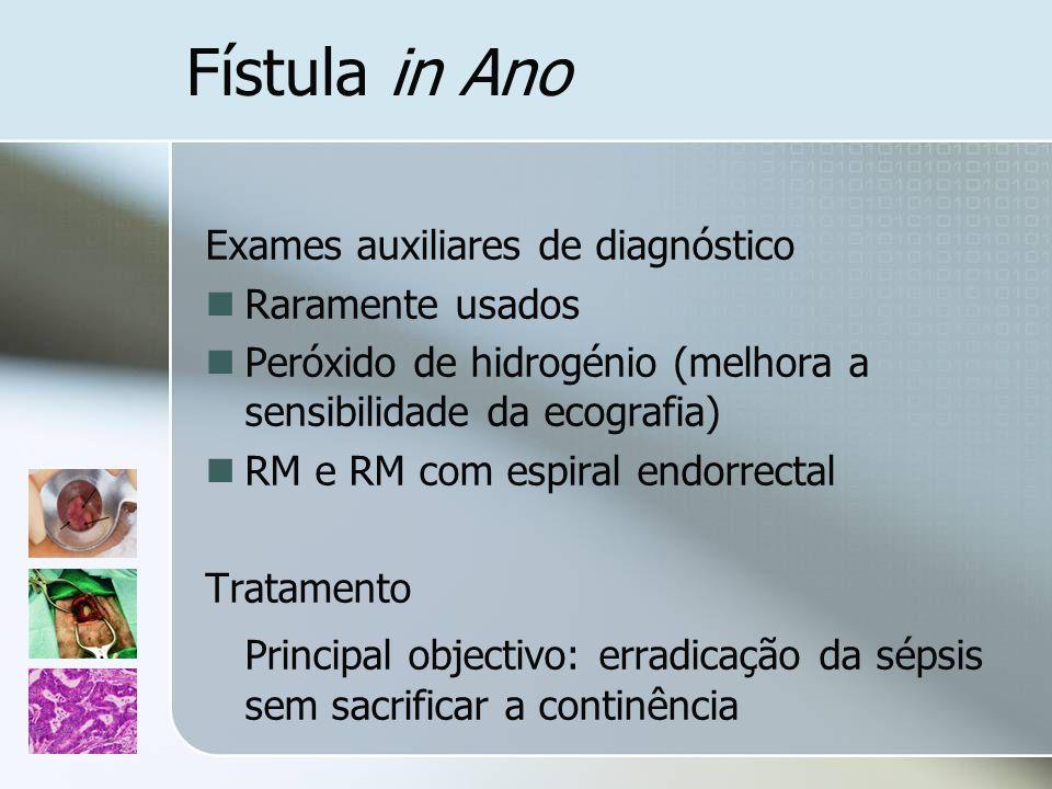 Fístula in Ano Exames auxiliares de diagnóstico. Raramente usados. Peróxido de hidrogénio (melhora a sensibilidade da ecografia)