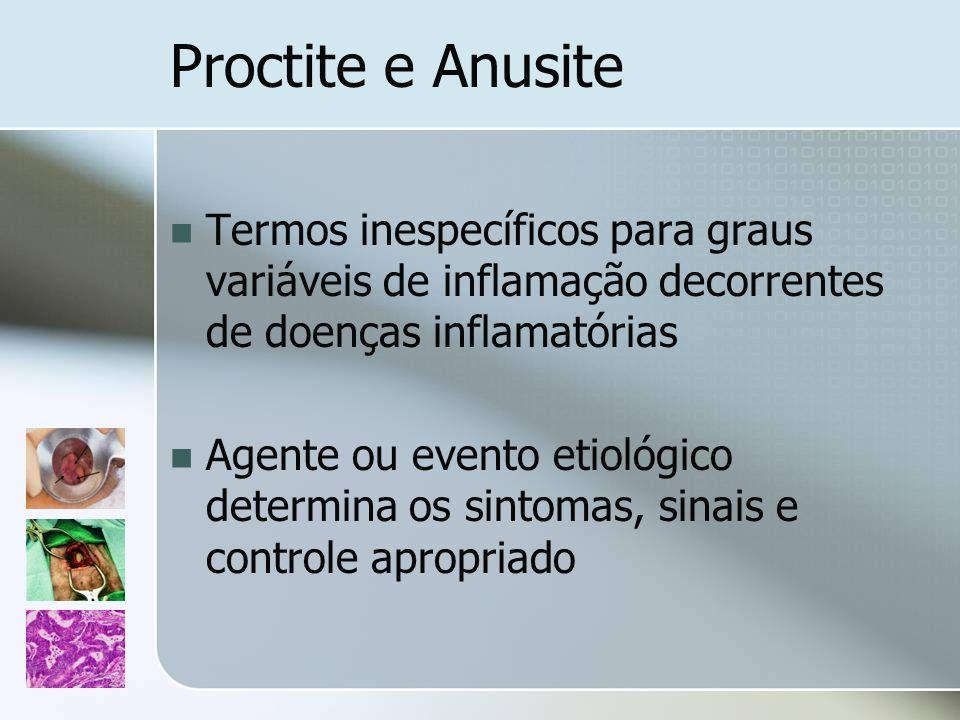 Proctite e Anusite Termos inespecíficos para graus variáveis de inflamação decorrentes de doenças inflamatórias.