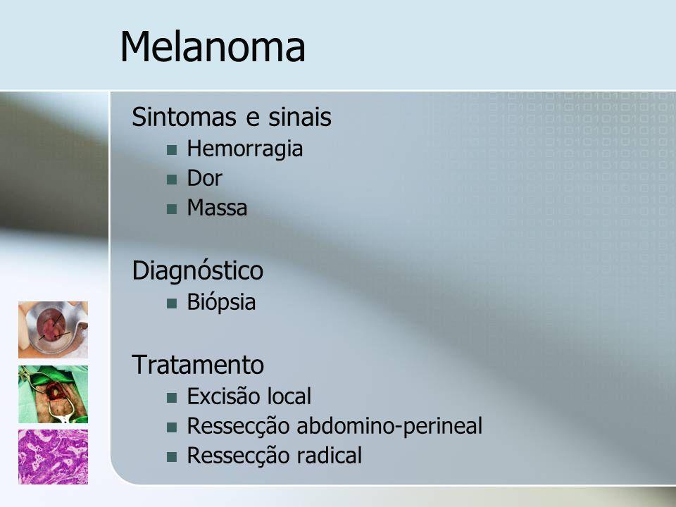 Melanoma Sintomas e sinais Diagnóstico Tratamento Hemorragia Dor Massa