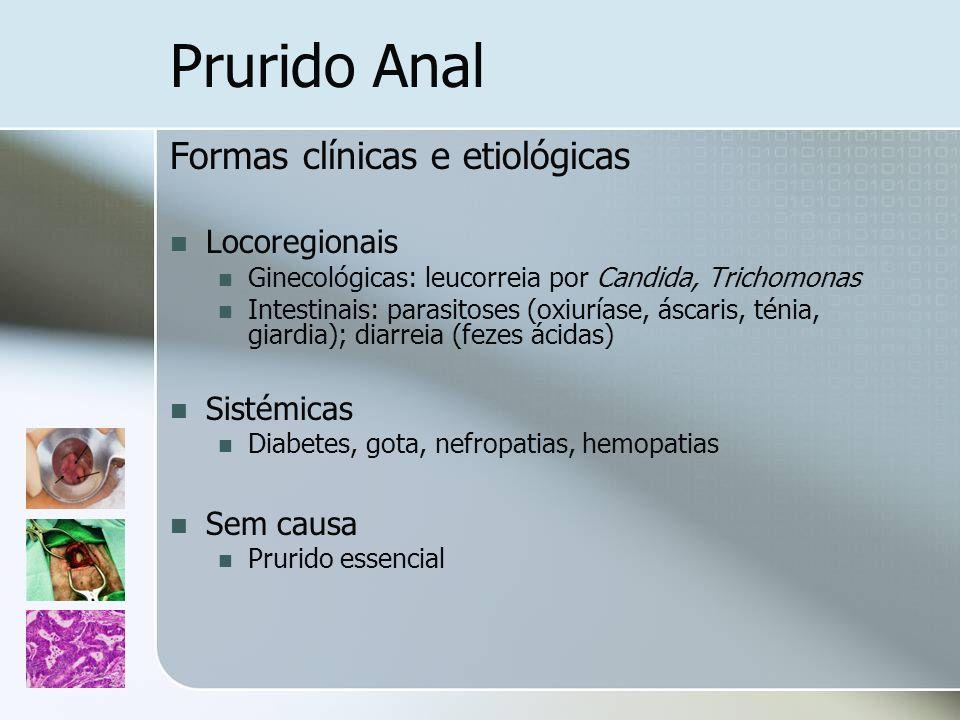 Prurido Anal Formas clínicas e etiológicas Locoregionais Sistémicas