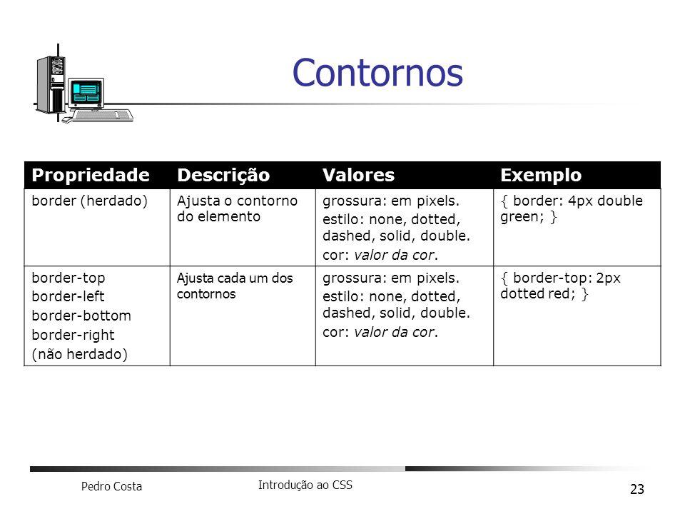 Contornos Propriedade Descrição Valores Exemplo border (herdado)