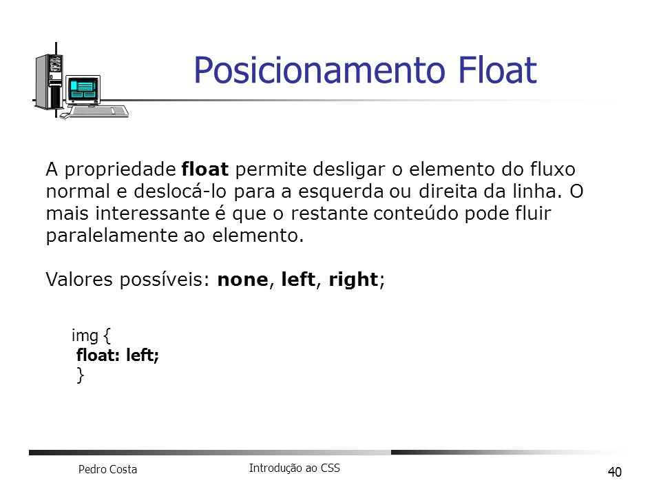 Posicionamento Float