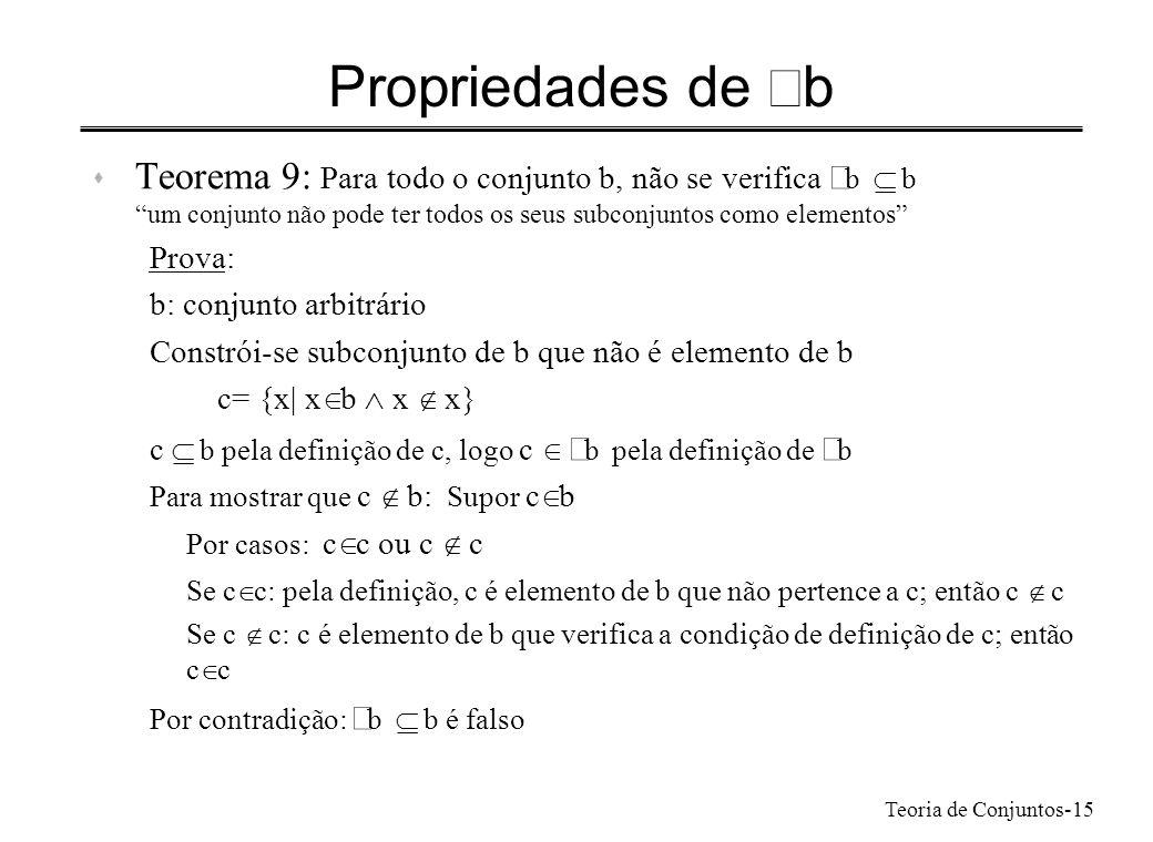 Propriedades de ÃbTeorema 9: Para todo o conjunto b, não se verifica Ãb Í b. um conjunto não pode ter todos os seus subconjuntos como elementos