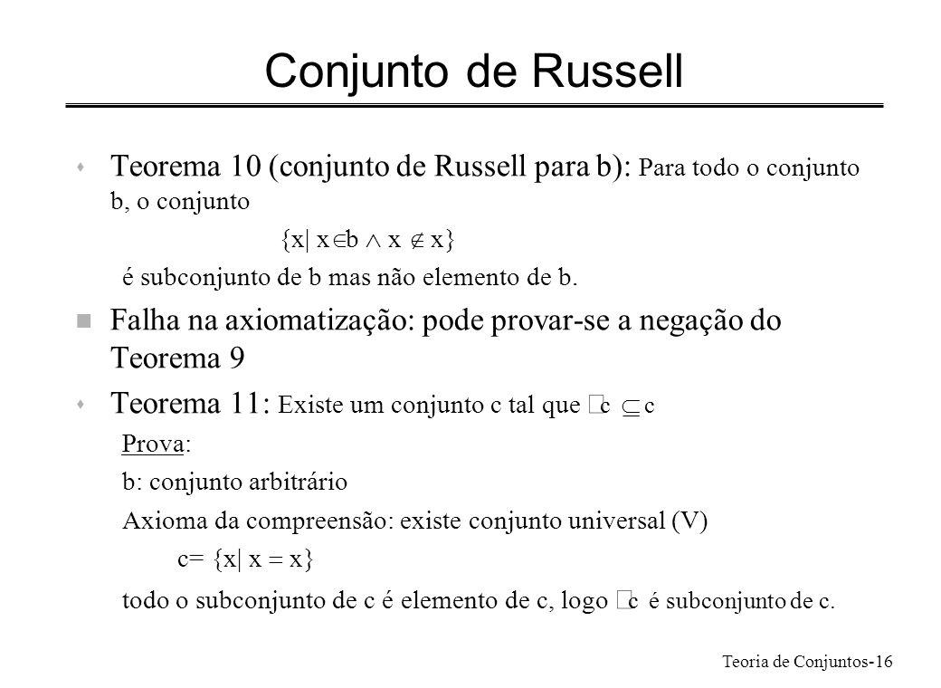 Conjunto de RussellTeorema 10 (conjunto de Russell para b): Para todo o conjunto b, o conjunto. {x| xÎb Ù x Ï x}