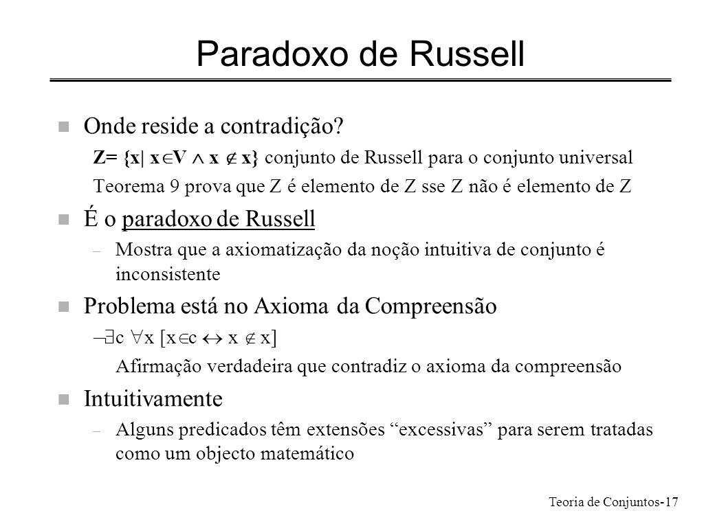 Paradoxo de Russell Onde reside a contradição É o paradoxo de Russell