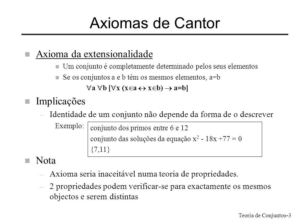 Axiomas de Cantor Axioma da extensionalidade Implicações Nota