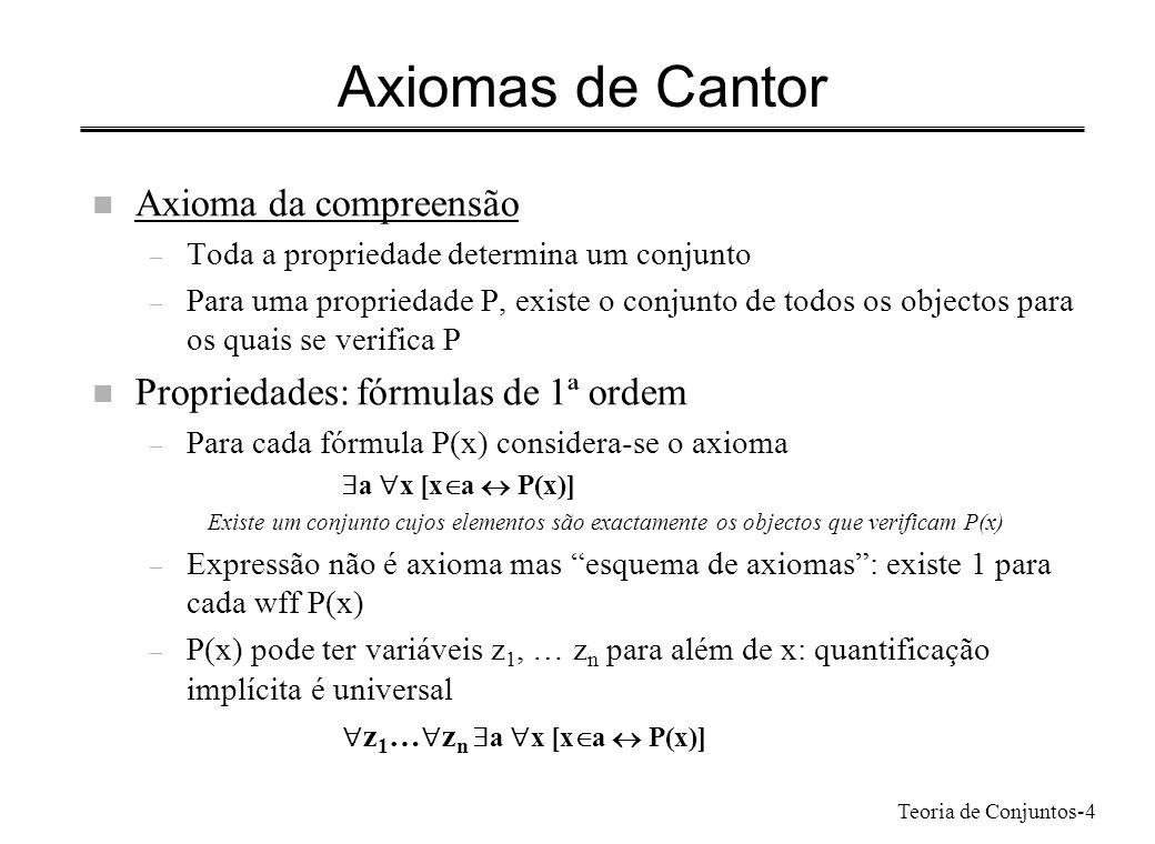 Axiomas de Cantor Axioma da compreensão