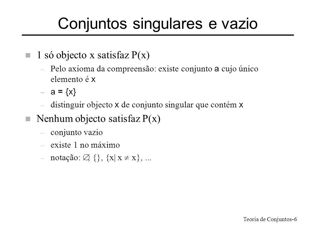 Conjuntos singulares e vazio
